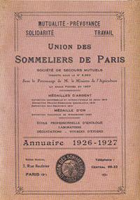 Union des Sommeliers de Paris Annuaire 1926-1927