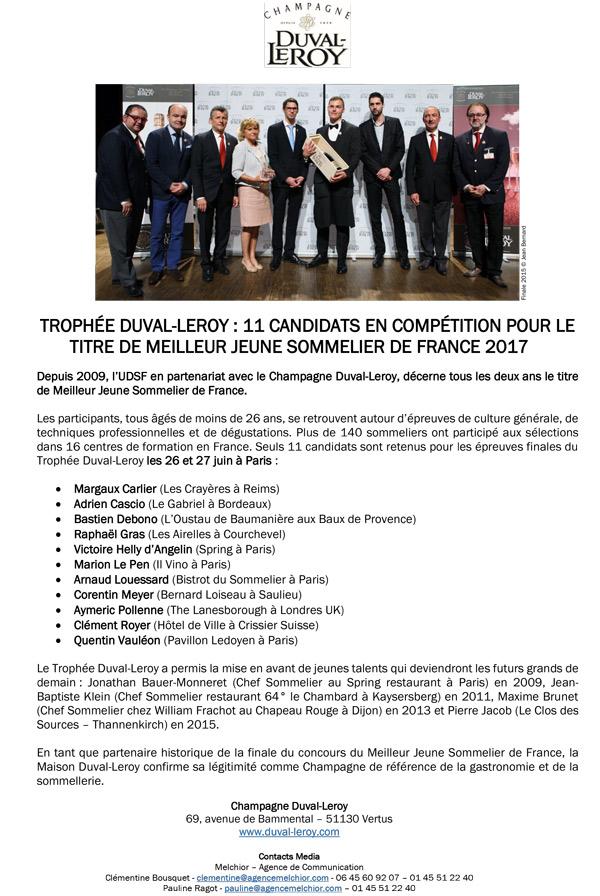 FInalistes Trophée Duval Leroy