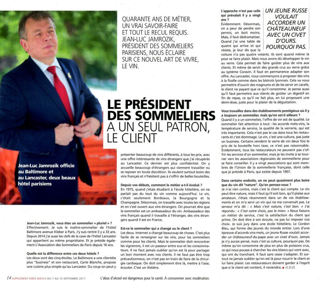 Article sur Jean-Luc Jamrozik dans Paris Match du 07.09.2017