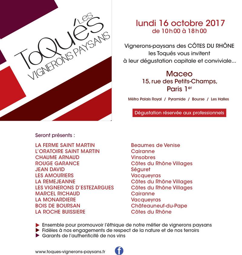 Invitation, Les Toqués, Vignerons à Paris