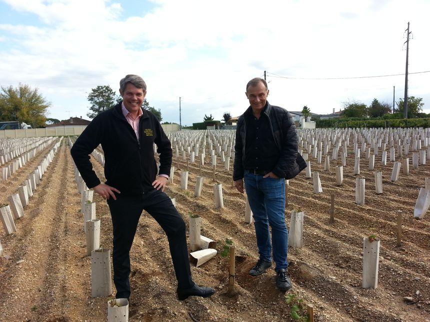Laurent Fortin, directeur général du château Dauzac, avec son directeur technique Philippe Roux