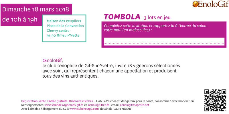 Carton d'invitation Salon des Vins de Gif-Sur-Yvette