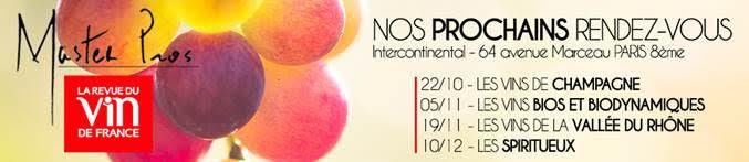 Liste des Masters Pro de la Revue du Vin de France d'octobre à décembre 2018