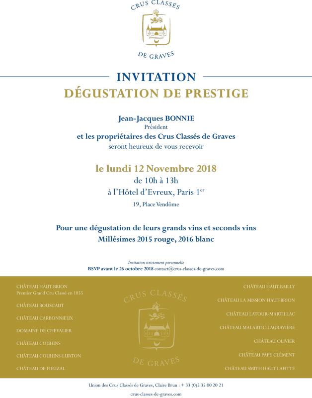 Invitation à la Dégustation de Graves de Prestige 12 novembre 2018