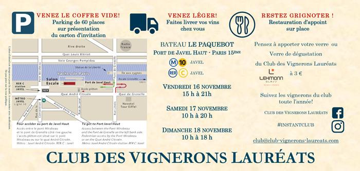 Plan du Lieu de la dégustation du Club des Vignerons Lauréats Paris 2018