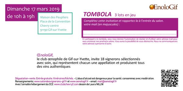 Tombola du Salon des Vignerons de Gif-sur-Yvette 2019