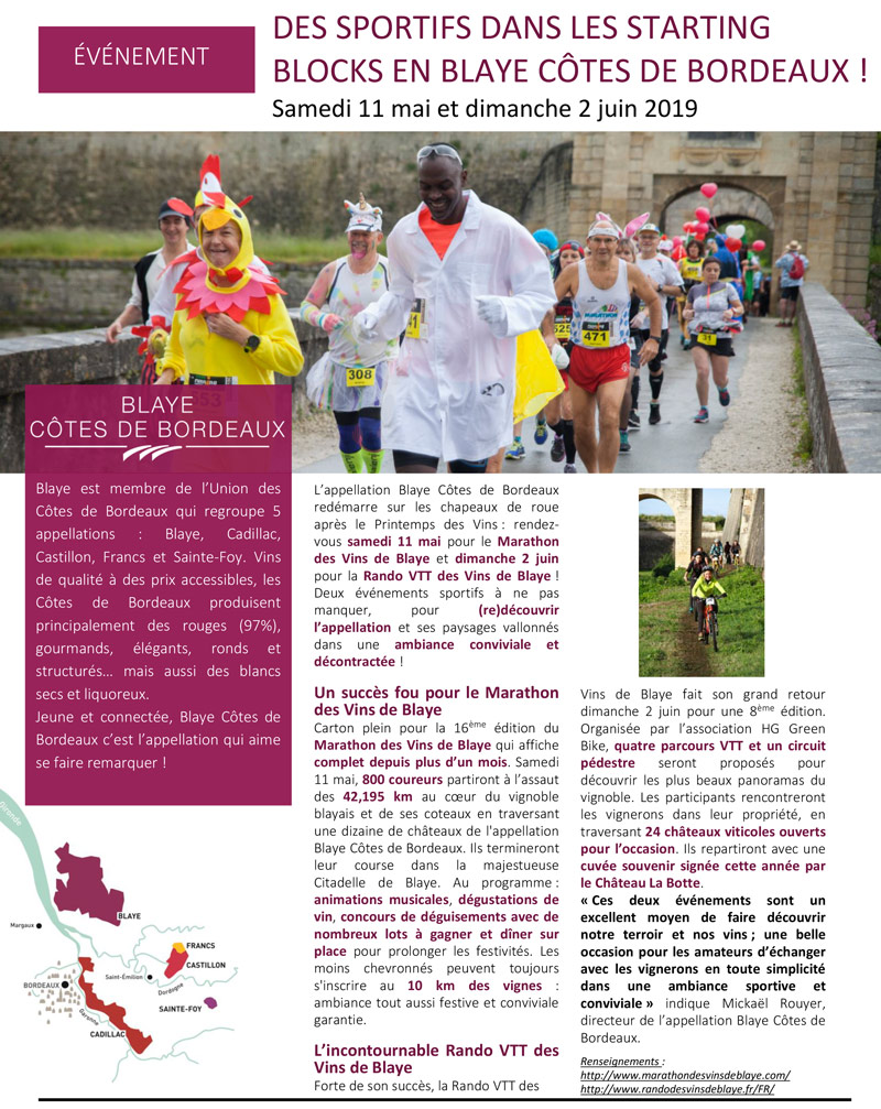 Communiqué de Presse Marathon Côte de Blaye