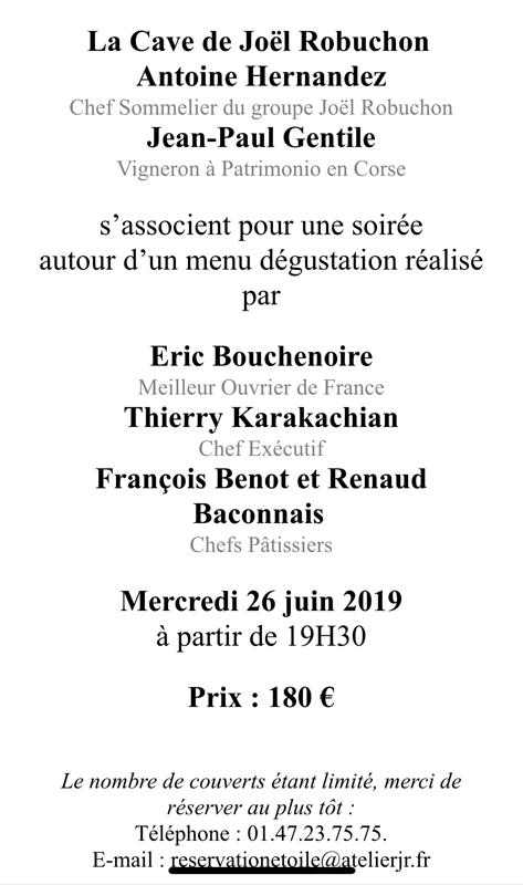 Invitation à la dégustation à l'Atelier Joël Robuchon Etoile