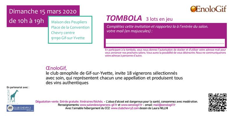 Tombola du 26e Salon OenoloGif de Gif-sur-Yvette