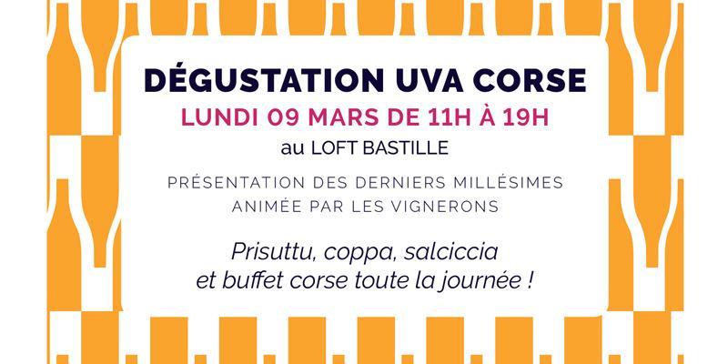Flyer de la dégustation des Vignerons d'UVA Corse printemps 2020