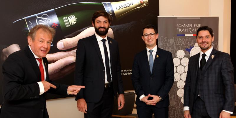 Les finalistes du concours du Meilleur Sommelier de France 2020 et le président de l'ASP.